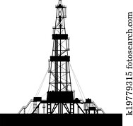 Oil rig silhouette isolated on white background.