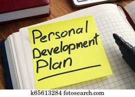 Personal development plan. Memo stick in the notepad.