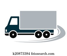 sign with shipping truck