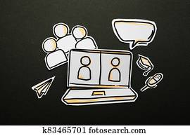 Video conference call communication paper icon.