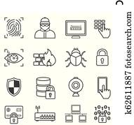 Cyber security, data protection, hacker and malware line icons