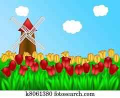Dutch Windmill in Tulips Field Farm Illustration