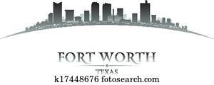 Fort Worth Texas city skyline silhouette white background