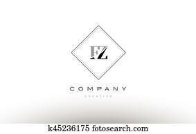 Clip Art Of Fz Letters Logo K36903969 Search Clipart Illustration