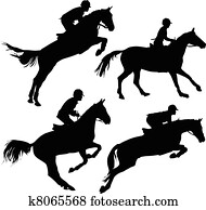 Jumping horses with riders