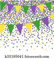 Mardi Gras bunting background with