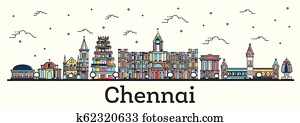 Outline Chennai India City Skyline with Color Buildings Isolated on White.