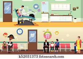 patienten, und, zahnarzt, an, dentales büro, abbildung