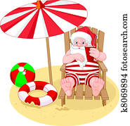 Santa Claus relaxing on the beach