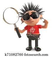 Studious punk rocker looks at things through a magnifying glass, 3d illustration