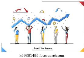 Vector illustration of Business team building growth graph and preparing for the big profit. Candlestick chart of the stock market, move up motivation. The way to achieve the goal