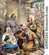 Wise men bring gifts to Baby Jesus