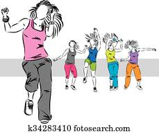 zumba dancers group illustration E
