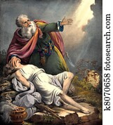 Abraham offers Isaac ram in bush
