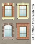 fenêtres en bois dans le mur