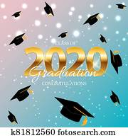 Class of 2020  Graduarion Education Background.  Illustration