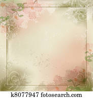 grunge, vintage background with flowers and a frame