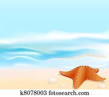 Marine landscape with a sea star (starfish), beach, sea and rocks