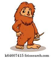 Bigfoot holding a horn