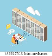 Man Working Data Center Technical Room Hosting Server Database 3d Isometric