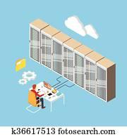 mann, arbeitende, daten zentrieren, technische, zimmer, Hosting, server, datenbank, 3d, isometrisch