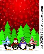 Penguins Carolers Singing with Red Winter Scene Illustration