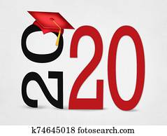 Red 2020 graduation on text