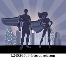 superhero, und, weiblich, superhero, silhouetten