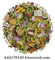 Cartoon cute doodles hand drawn Fastfood illustration