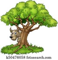 Cartoon Fairytale Big Bad Wolf and Tree
