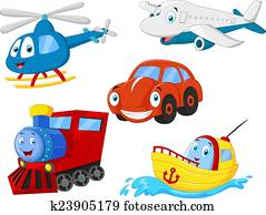 Cartoon transportation collection