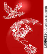 Christmas Peace Dove On Earth Red Background