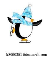 Cute Penguin on Ice Skates Illustration