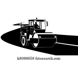 Road construction machinery on the