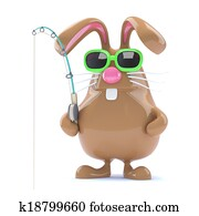 3d Easter bunny fisherman