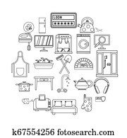 Cool house icons set, outline style