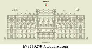 Government Palace in Trieste, Italy. Landmark icon