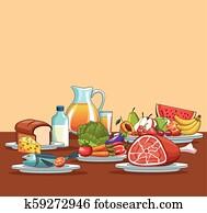 Healthy food cartoon