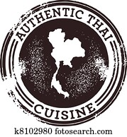 klassische, authentisch, thaikueche, briefmarke