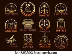 Legal center or lawyer vector juridical gold icons