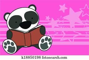 Panda Bear Baby Reading Cartoon Wal
