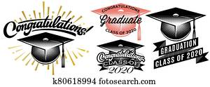 Set of Graduation vector Class of 2020. Congrats grad Congratulations Graduate