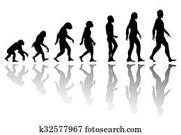 Silhouette man evolution
