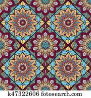 Boho tile flower squares colorful 2