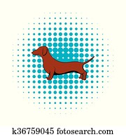 Dachshund icon in comics style