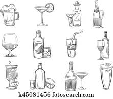 Doodle sketch cocktails and alcohol drinks in glass. hand drawn vector stock