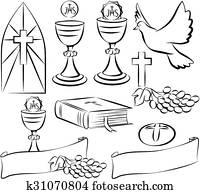 holy communion - vector symbols