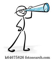 Man looking through telescope - Business vision concept