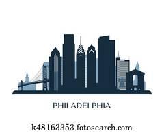 Philadelphia skyline, monochrome silhouette