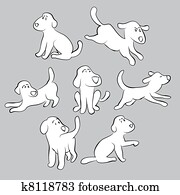 set of cute puppies - isolated illustration